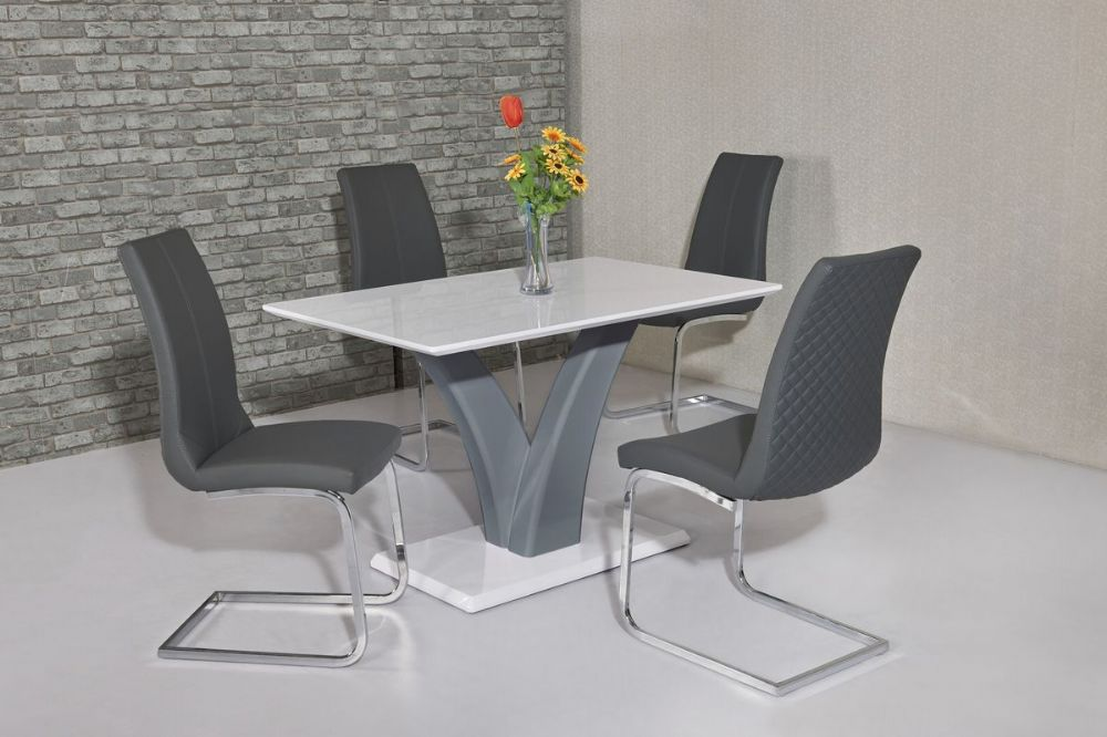 GA Elsa Grey & White Dining Table &  4 Grey /White Chairs